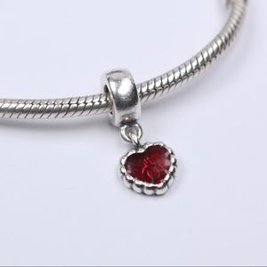 Authentic PANDORA Red Enamel Beaded Heart Dangle